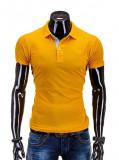 Cumpara ieftin Tricou pentru barbati polo, galben simplu, logo piept, slim fit, casual - S594