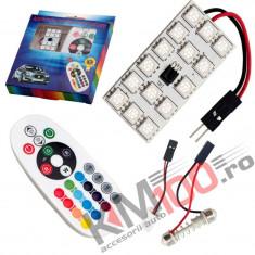 Placute LED RGB cu 15 SMD pentru plafoniera cu telecomanda (28 x 43 mm) - set 2 buc.