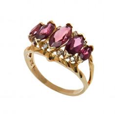 Inel din aur cu 5 pietre de rodolit si diamante, 57 - 67