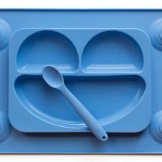 Farfurie autodiversificare si lingurita silicon Easymat Albastru