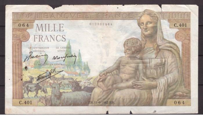 Franta 1943(11-6) - 1000 francs, deteriorata
