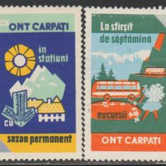 Romania - 2 Vignete turistice ONT anii '70, Oficiul National de Turism Carpati