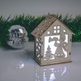 Cumpara ieftin Casuta decorativa de Craciun cu LED - alb cald - lemn - 6 modele - 10 x 4,5 cm