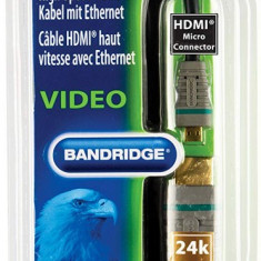 Cablu HDMI - micro HDMI cu Ethernet Bandridge BVL1702 High-Speed (2m)