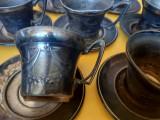 Set vechi de 10 cesti cafea cu farfurii vechi argintate