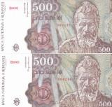 Bancnota Romania 500 Lei aprilie 1991 - P98b UNC (numar mic - serii consecutive)