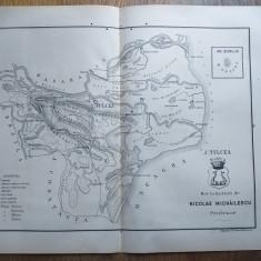 JUDETUL TULCEA // HARTA CROMOLITOGRAFIATA, 1904
