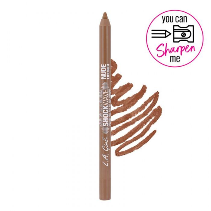 Creion de buze waterproof, ultrarezistent L.A. Girl Shockwave Nude Lipliner, 1.2g - 741 Maple Glaze