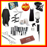 Set Kit Frizerie Coafor Foarfeca Tuns Filat Pelerina Sort  Brici barbierit