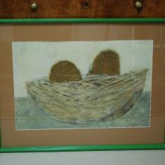 "Tablou pictura Artist iesean Mihail Tarasi - ""Cuibul"" - ulei pe carton, Abstract, Impresionism"