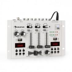 Auna DJ-22BT, MKII, mixer,DJ-mixer cu 3/2 canale, BT, 2xUSB, montare pe raft, alb