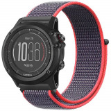 Curea ceas Smartwatch Garmin Fenix 5, 22 mm iUni Soft Nylon Sport, Purple-Electric Pink