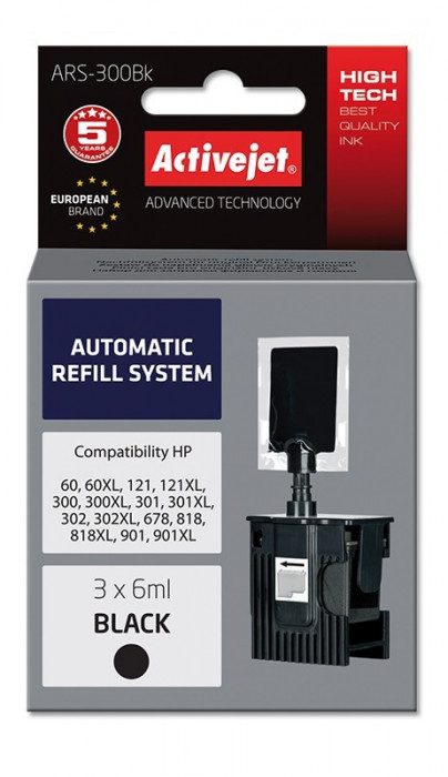 Sistem Kit automat de refill black pentru HP-300 HP-301 HP-901 ActiveJet