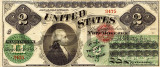 2 dolari 1862 Reproducere Bancnota USD , Dimensiune reala 1:1