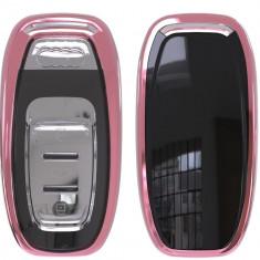 Husa Cheie Smartkey Audi 3 Butoane ROZ TPU+PC Audi A6 A7 A8 4G