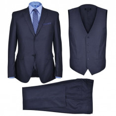 Costum business bărbați, 3 piese, bleumarin, mărime 48