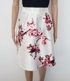 Fusta dama-allegra, XS, Alb & Imprimeu floral