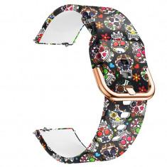 Curea din silicon, compatibila Samsung Galaxy Watch Active, telescoape Quick Release, 20mm, Vintage Model