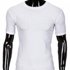 Tricou pentru barbati alb simplu slim fit mulat pe corp bumbac S620