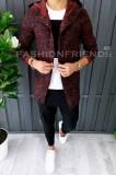 Cardigan barbati grena - hanorac barbati - hanorac slim fit - cod A2893