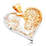 Pandantiv din aur 585 - inimă bicoloră filigranată cu decupaj