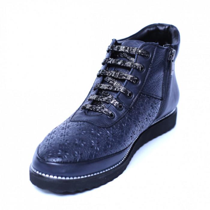 Pantofi dama din piele naturala, Row, Relin, Albastru, 37 EU