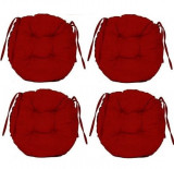 Set Perne decorative rotunde, pentru scaun de bucatarie sau terasa, diametrul 35cm, culoare visiniu, 4 buc/set, Palmonix