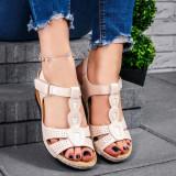 Sandale dama cu platforma bej Crystal