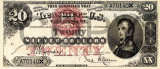20 dolari 1878 Reproducere Bancnota USD , Dimensiune reala 1:1
