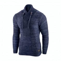 Pulover pentru barbati bleumarin guler inalt flex fit casual Alaska Hunter