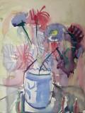 45 - Flori , natura statica, Acuarela veche , pictura