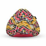 Cumpara ieftin Fotoliu Units Puf (Bean Bag) tip para, impermeabil, cu maner, 80 x 90 x 68 cm, graffiti grunge geometric