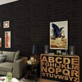 Tapet 3D Black design perete modern din caramida , Autoadeziv , 77x70 cm