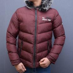 Geaca scurta barbati grena de fas groasa de iarna slimfit, M, XL