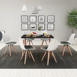 VidaXL Set masă și scaune de bucătărie, 7 piese, negru și alb