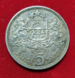 Moneda din Argint - 5 Lati 1931 - Letonia -  piesa cu patina SUPERBA, Europa