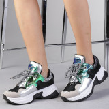 Pantofi sport dama Ernesta negru cu argintiu