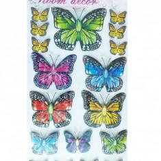 Sticker decorativ 5D Fluturi colorati Model 8 + Cadou set Stiker fosforescente