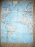 Harta Oceanului Atlantic si a fundului Oceanului Atlantic 1968 ,dim.=64x49cm