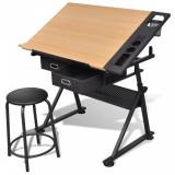 Masă de desen cu blat reglabil cu scaun 2 sertare, vidaXL