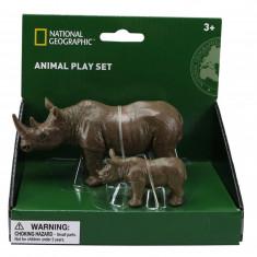 Set 2 figurine Rinocerul si puiul National Geographic, 3 ani+