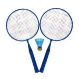 Set Badminton, 1 x fluturas, 46 cm, maner anti-aluncare, Albastru, General