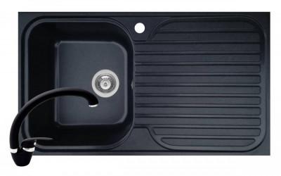 Pachet chiuveta soft compozit bucatarie Stripe ARTITHEK 1B 1D ST + Baterie OSSIA Pyramis Negru foto