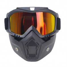 Masca protectie fata din plastic dur + ochelari ski, lentila neagra, MD04