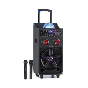 Auna DisGo Box 100, sistem PA mobil, 50 W RMS, BT, slot SD, LED, USB, baterie, negru