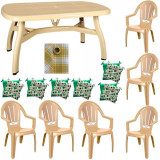Set mobila gradina King masa 90x150 cm cu 6 scaune Milas culoare bej,6 perne scaun,Fata de masa 150x220cm B001172 Raki