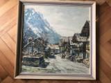 Tablou,litografie  germana ,sat din Alpi