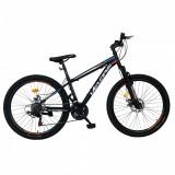 Bicicleta MTB-HT Shimano Tourney 18 viteze 26 inch frane disc CSV2610A cadru negru cu design albastruportocaliu, Velors