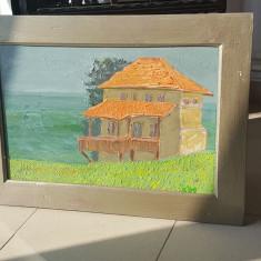 Tablou pictura semnata Ilie Boca - Casa - artist bacauan, Peisaje, Ulei, Cubism