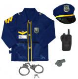 Costum politist cu jacheta, palarie, catuse, fluiere si statie din plastic AMA